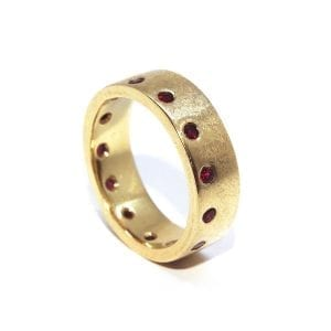 18k Yellow Gold Ruby Sapphire Ring