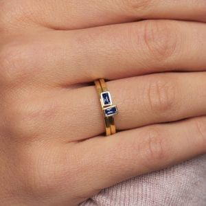 18k Yellow Gold Blue Sapphire Ring Stack