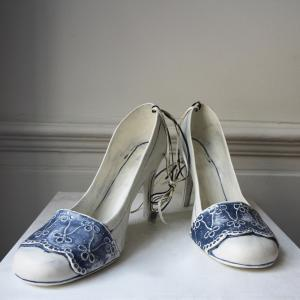 Ceramic Blue Lace Shoes
