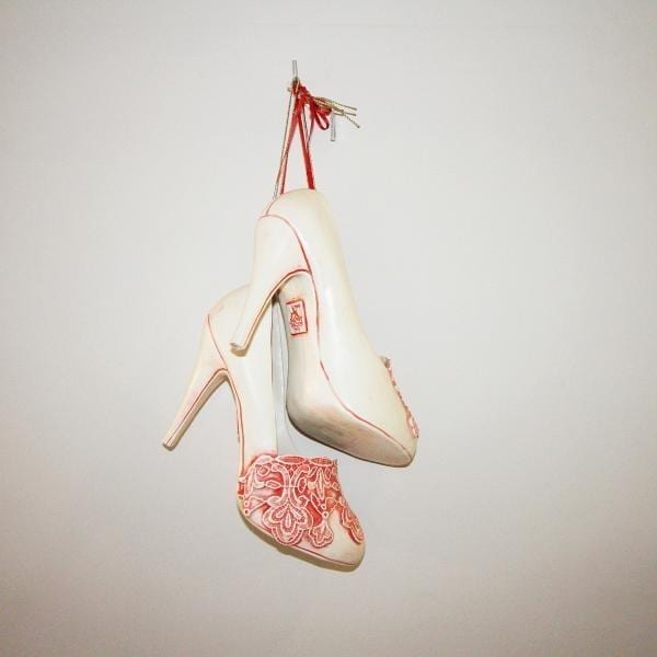 Ceramic Red Lace Shoes