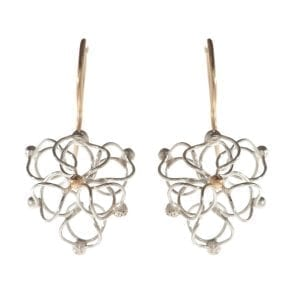 Sterling Silver 14k Yellow Gold Air Triangle Earrings