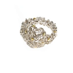 Sterling Silver 14k Yellow Gold Garland Ring