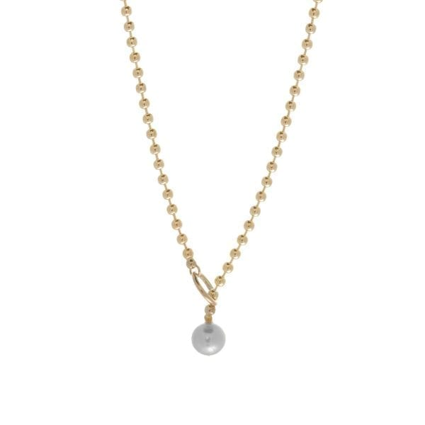 14k Yellow Gold Grey Akoya Pearl Bubble Lariat