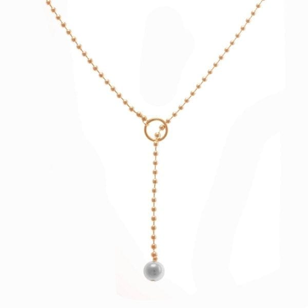 14k Red Gold Grey Akoya Pearl Bubble Lariat