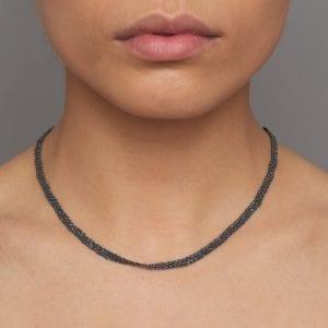 Oxidized Silver 14k Yellow Gold Single Ribbon Necklace