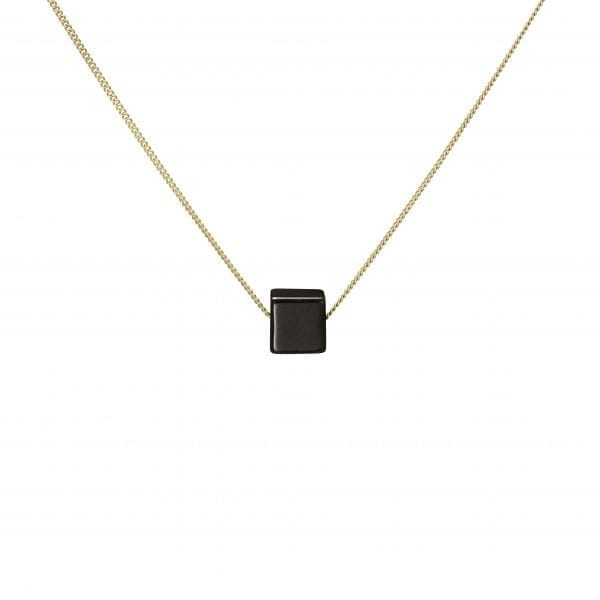 9k Yellow Gold Black Onyx Cube Necklace