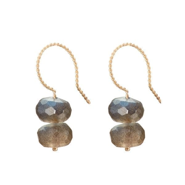 9k Yellow Gold Labradorite Earrings