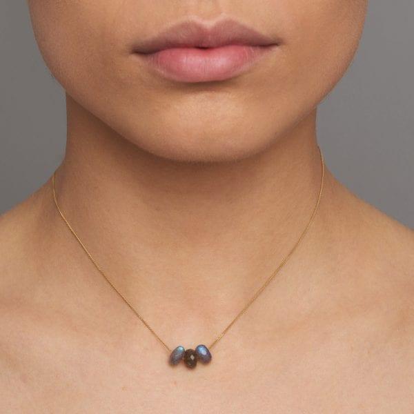9k Yellow Gold Labradorite Necklace