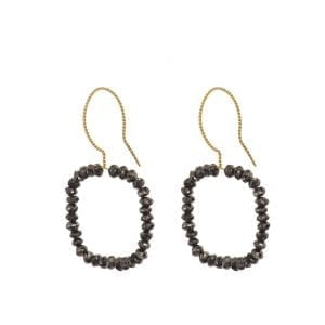 18k Yellow Gold Black Diamond Square Earrings