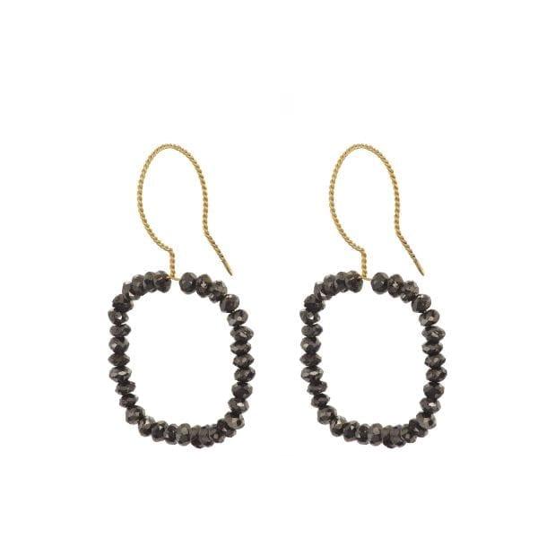 18k Yellow Gold Black Diamond Square Earrings