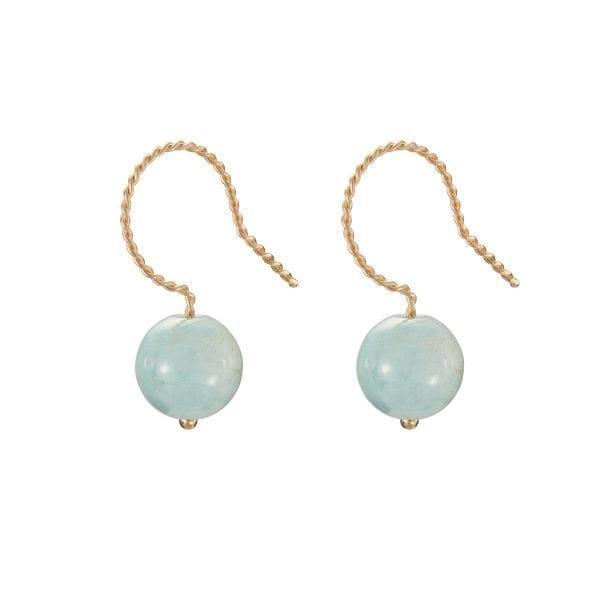 9k Yellow Gold Blue Beryl Sphere Earrings