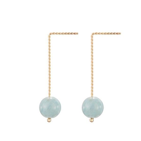 9k Yellow Gold Blue Beryl Long Earrings