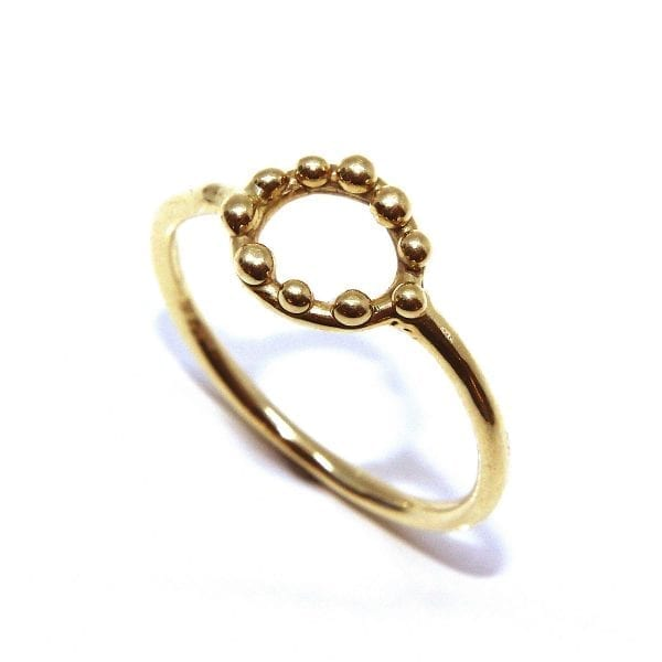14k Yellow Gold Circle Dot Ring
