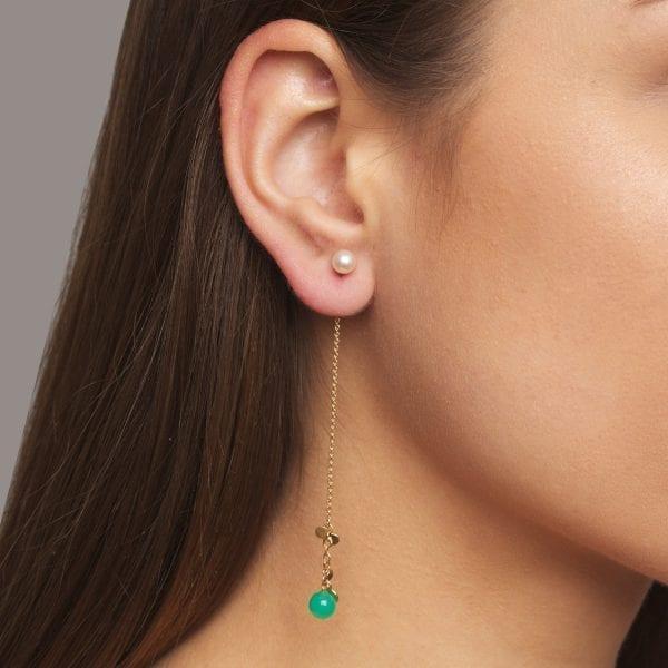 14k Yellow Gold Pearl Chrysoprase Leaf Earrings