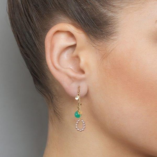 14k Yellow Gold Pearl Chrysoprase Threaded Leaf Earrings