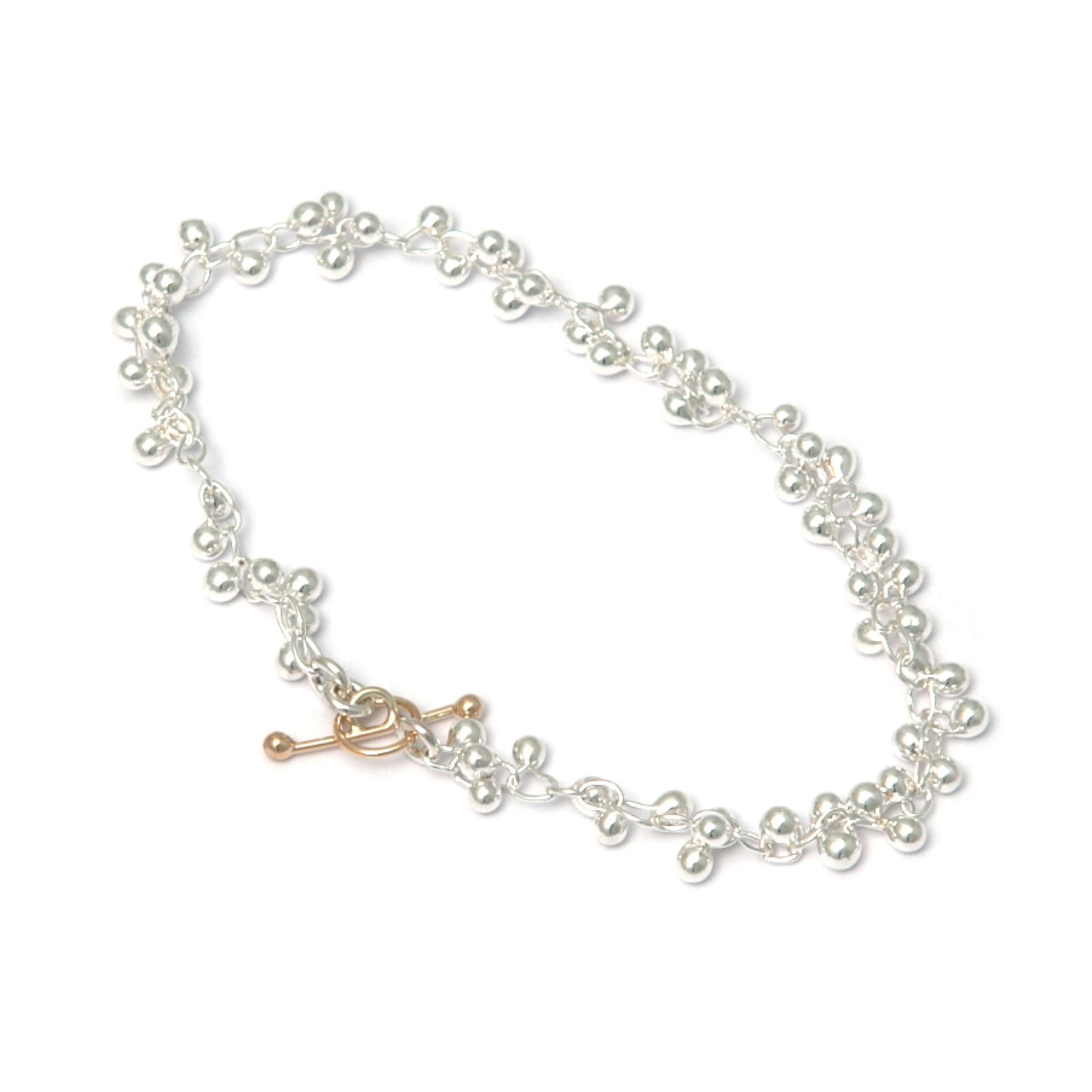 Fine Silver and 14k Yellow Gold Beaded Bracelet