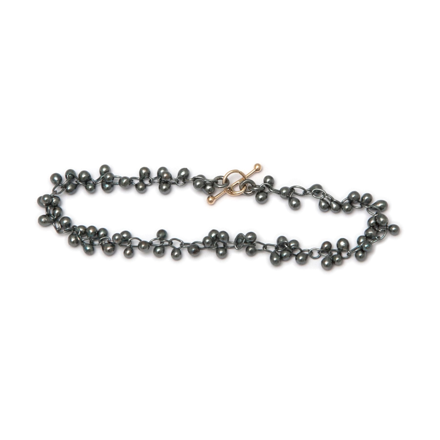 Fine Oxidized Silver and 14k Yellow Gold Beaded Bracelet