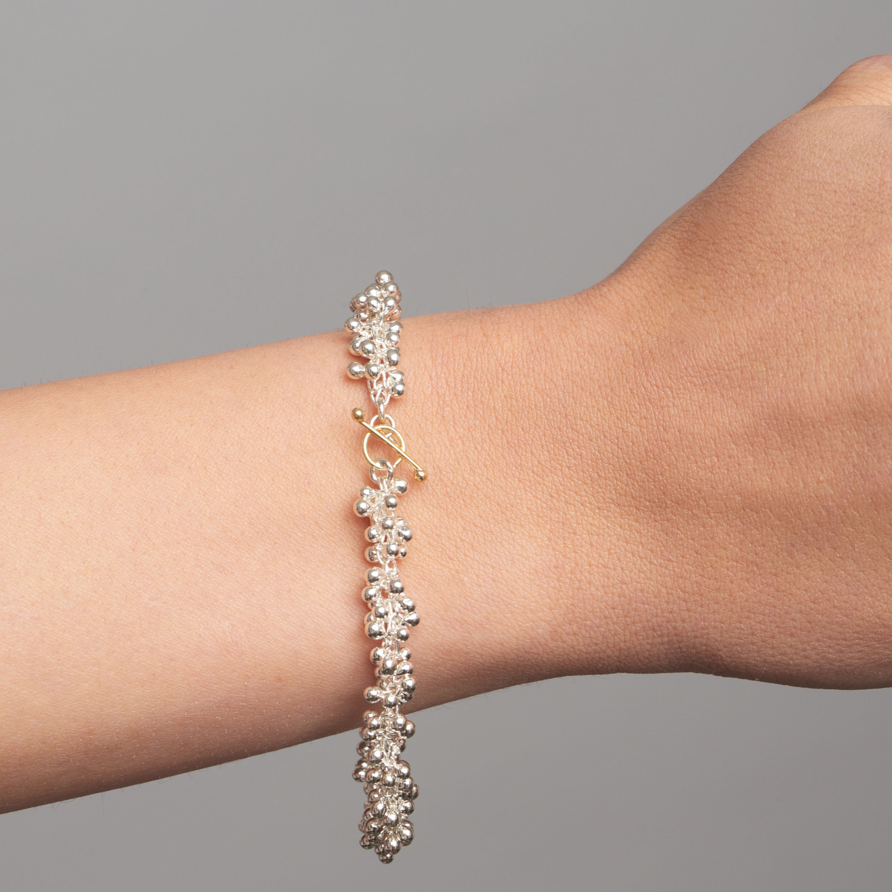 Fine Silver and 14k Yellow Gold Double Beaded Bracelet
