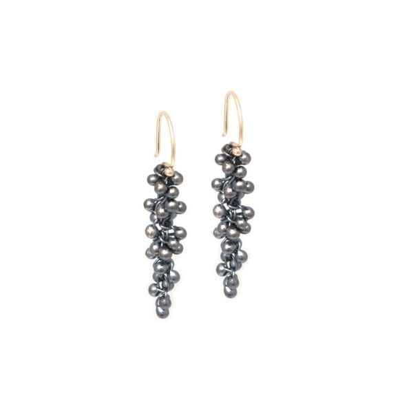 14k Yellow Gold Long Drop Oxidized Silver Earrings