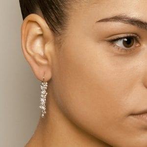 14k Yellow Gold Long Drop Silver Earrings