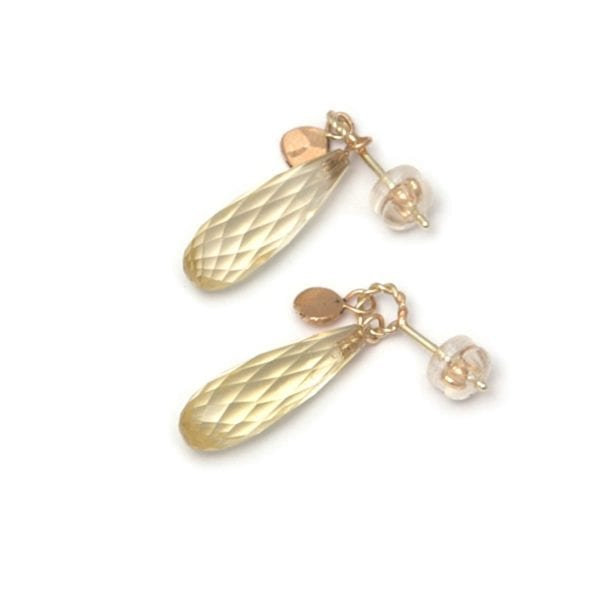 14k Yellow Gold Citrine Long Leaf Earrings