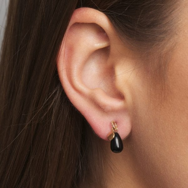 14k Yellow Gold Black Tourmaline Leaf Earrings