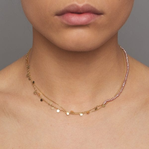 14k Yellow Gold Pink Pearl Leaf Necklace