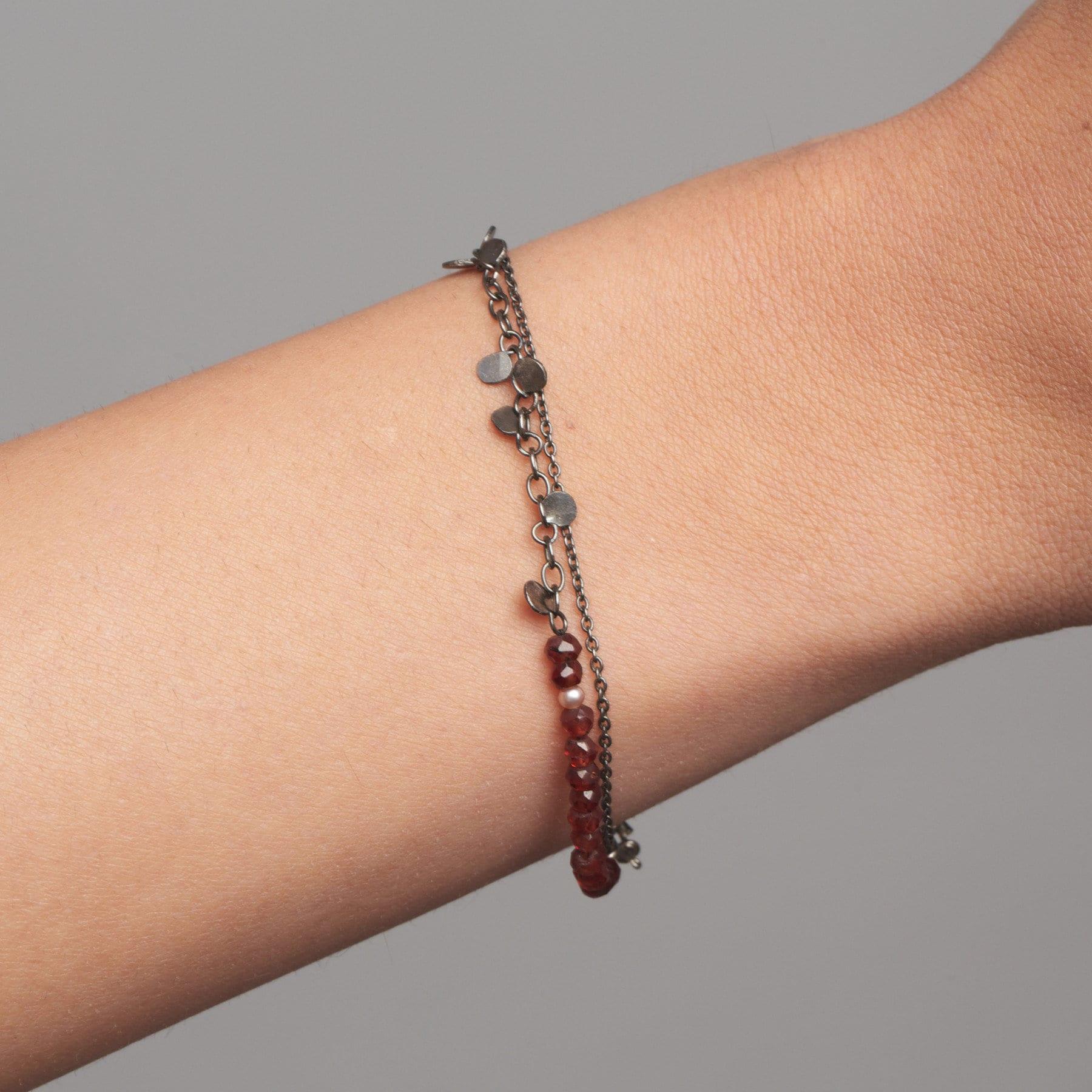 Oxidized Silver and Garnet Leaf Bracelet