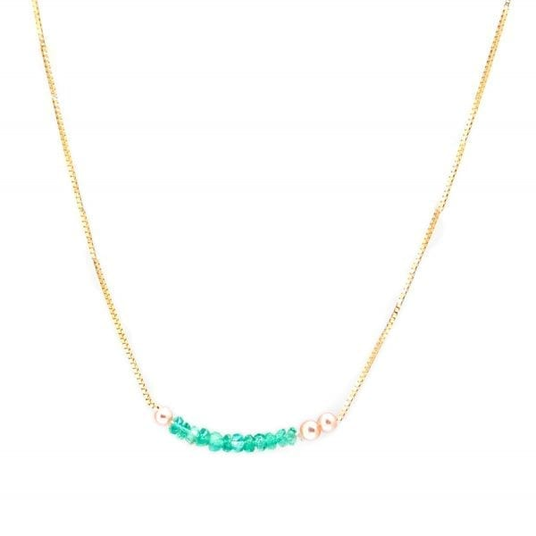 14k Yellow Gold Emerald Pearl Leaf Necklace