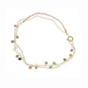 14k Yellow Gold and Pink Pearl Leaf Bracelet