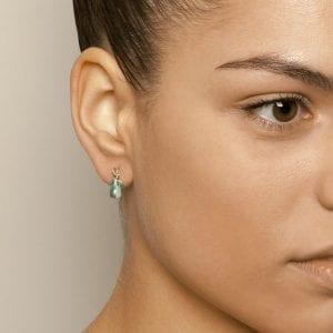 14k Yellow Gold Prehnite Cabochon Leaf Earrings