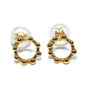 14k Yellow Gold Circle Dot Earring