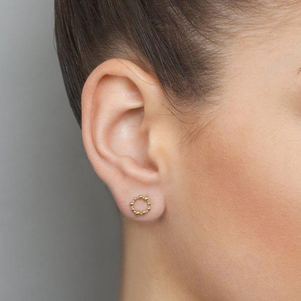 14k Yellow Gold Circle Dot Earring