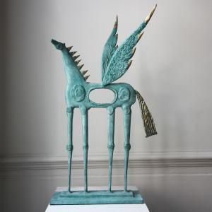 Blue Winged Horse Sculpture DesignYard