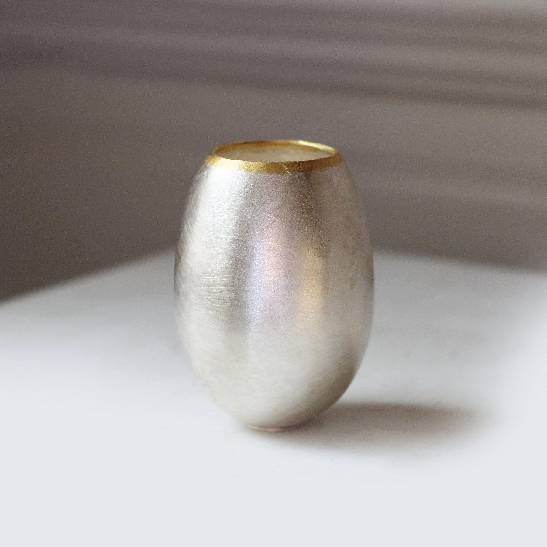 Fine Silver 24K Yellow Gold Egg Vessel Medium