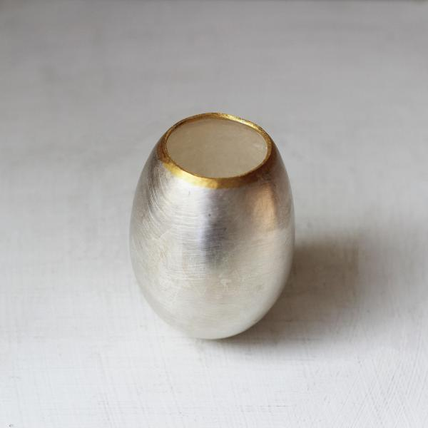 Fine Silver 24K Yellow Gold Egg Vessel Medium