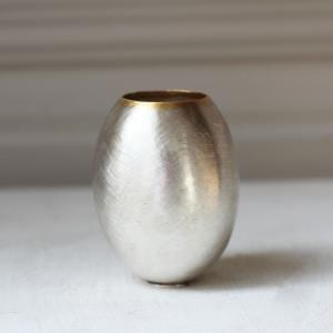 Fine Silver 24K Yellow Gold Egg Vessel Small