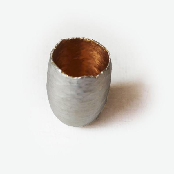 Silver Hammered Gum Nut Vessel Tall