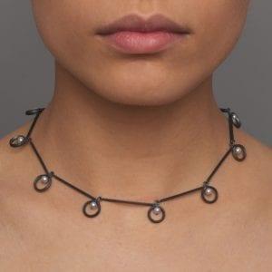 Oxidized Silver Freshwater Pearl Kreise Necklace