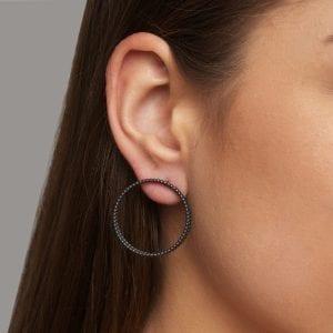 Oxidized Silver 18k Yellow Gold Double Hoop Earrings