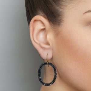 Oxidized Silver 18k Yellow Gold Black Spinel Large Oval Earrings