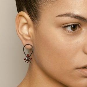 Oxidized Silver 18k Yellow Gold Garnet Earrings