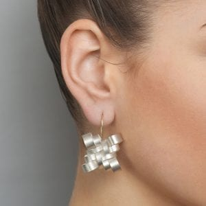 Silver 18k Yellow Gold Knot Hook Earrings