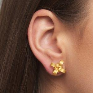 21k Yellow Gold Knot Stud Earrings