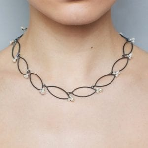 Oxidized Silver Freshwater Pearl Navette Necklace