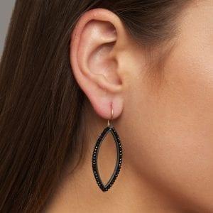 Oxidized Silver 18k Yellow Gold Black Spinel Navette Earrings