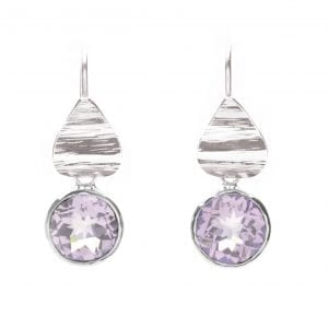 Sterling Silver Pink Amethyst Petal Earrings