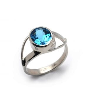 14k White Gold Blue Topaz Split Shank Ring