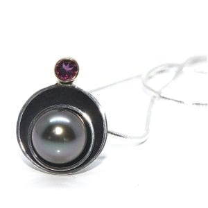 Oxidised Silver 14k Yellow Gold Tahiti Pearl Garnet Planet Necklace