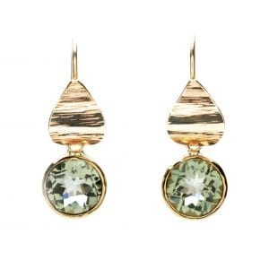 14k Yellow Gold Prasiolite Petal Earrings